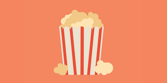 An illustration of popcorn in a red and white striped bag on an orange-colored background