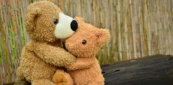 Close up photo of two light brown teddy bears hugging