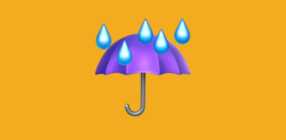 Purple umbrella with rain drops emoji against an orange background